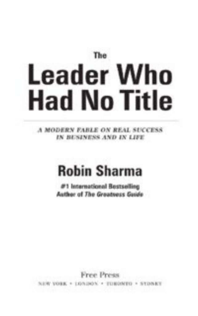 The Leader Who Had No Title by Sharma Robin